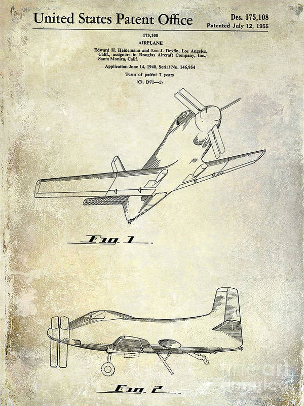 1955 Airplane Patent Poster featuring the photograph 1955 Airplane Patent Drawing by Jon Neidert