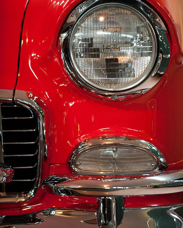 1955 Bel Air Poster featuring the photograph 1955 Chevy Bel Air Headlight by Sebastian Musial