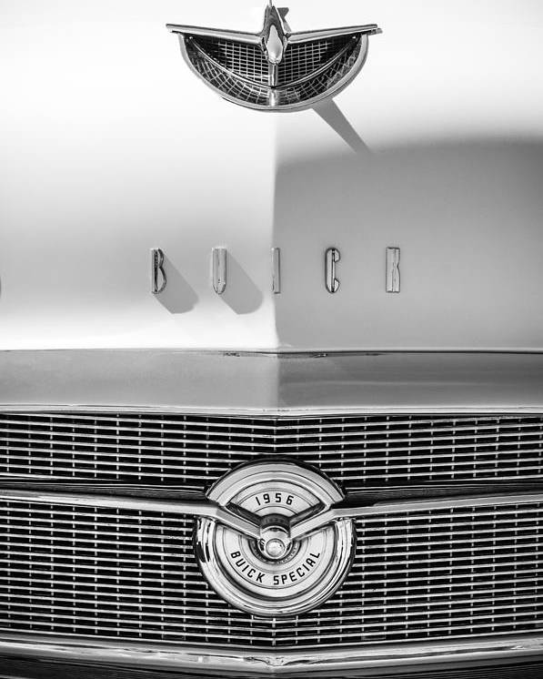 1956 Buick Special Hood Ornament Poster featuring the photograph 1956 Buick Special Hood Ornament - Emblem -0538bw by Jill Reger