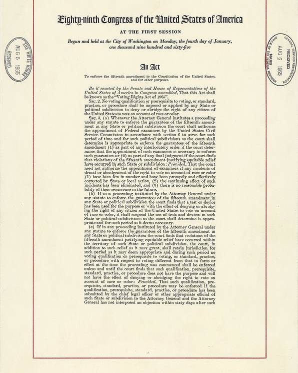 History Poster featuring the photograph 1965 Voting Rights Act. The Full Title by Everett