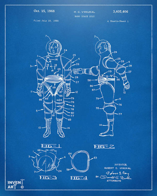 Space Suit Poster featuring the drawing 1968 Hard Space Suit Patent Artwork - Blueprint by Nikki Marie Smith