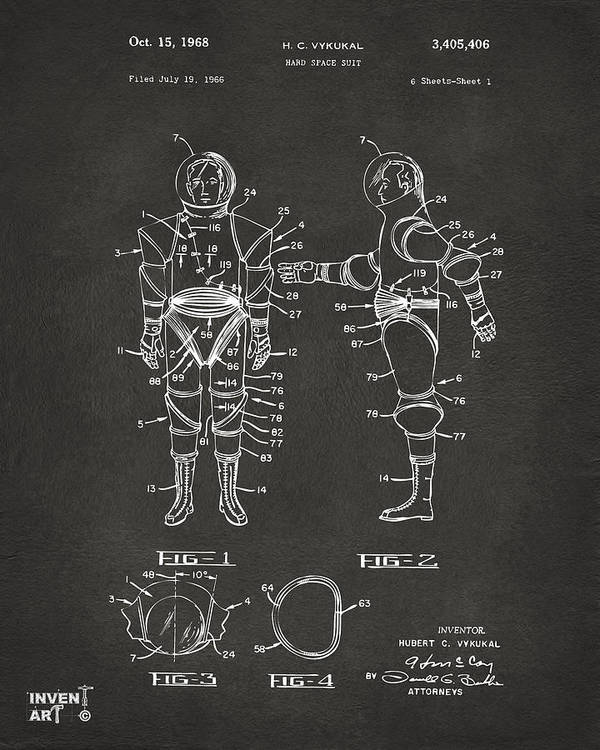 Space Suit Poster featuring the drawing 1968 Hard Space Suit Patent Artwork - Gray by Nikki Marie Smith