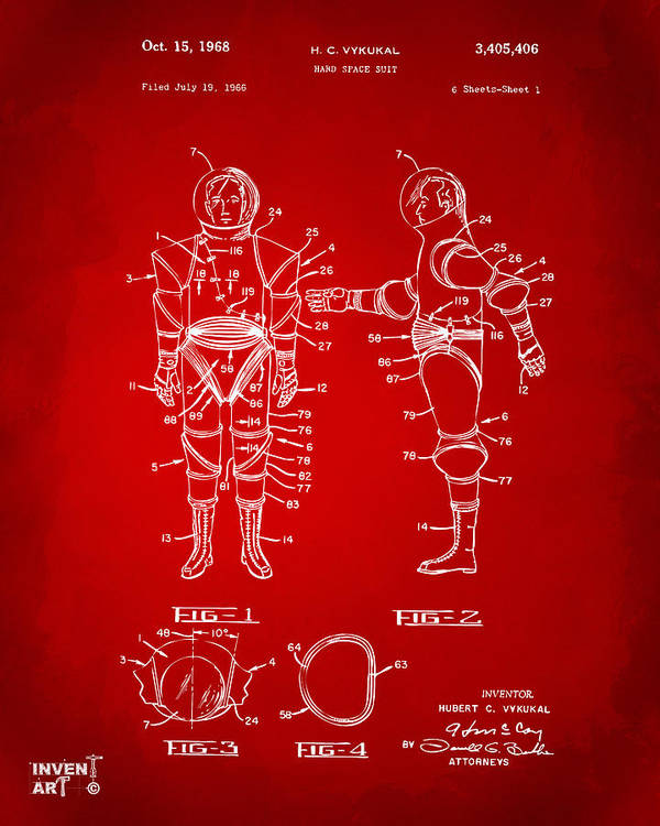Space Suit Poster featuring the digital art 1968 Hard Space Suit Patent Artwork - Red by Nikki Marie Smith