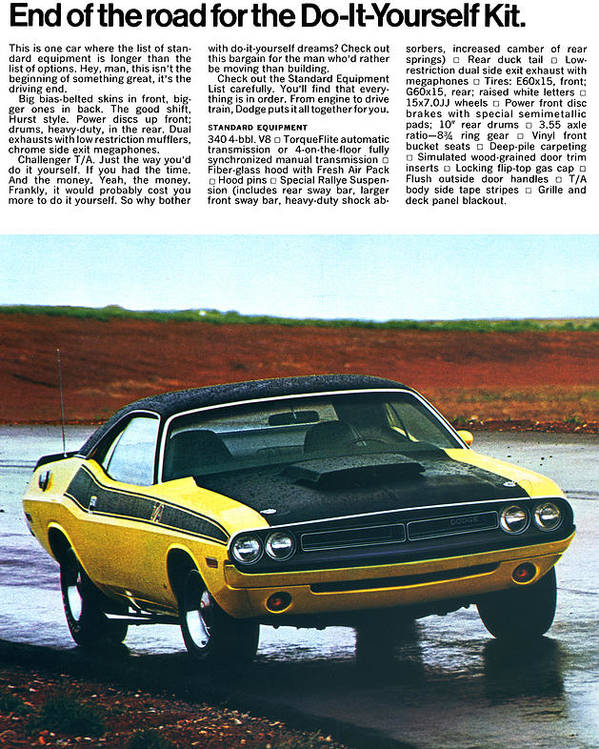 1971 Poster featuring the digital art 1971 Dodge Challenger T/a by Digital Repro Depot