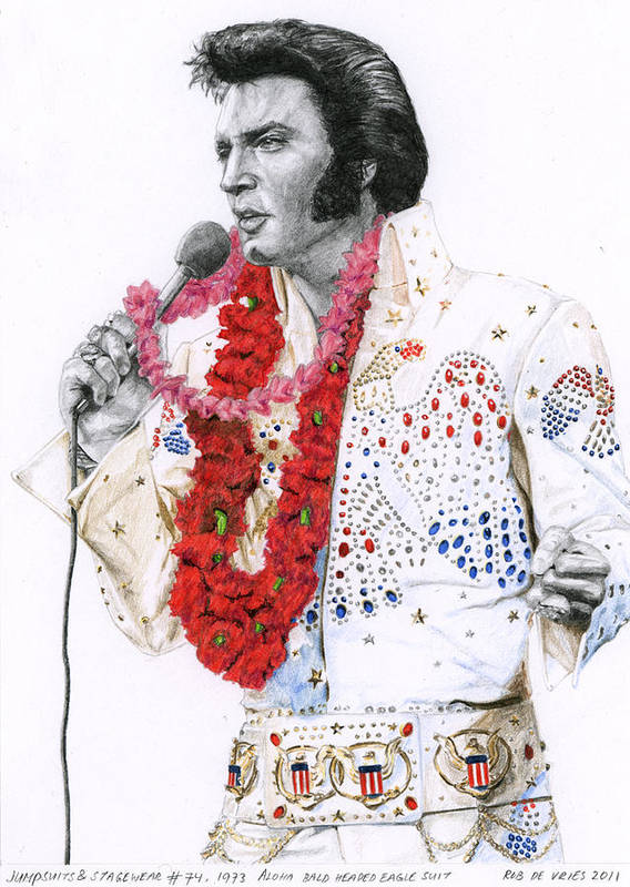 Elvis Poster featuring the drawing 1973 Aloha Bald Headed Eagle Suit by Rob De Vries