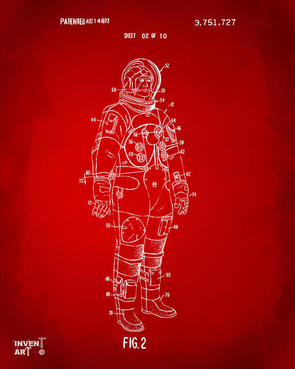 Space Suit Poster featuring the drawing 1973 Astronaut Space Suit Patent Artwork - Red by Nikki Marie Smith