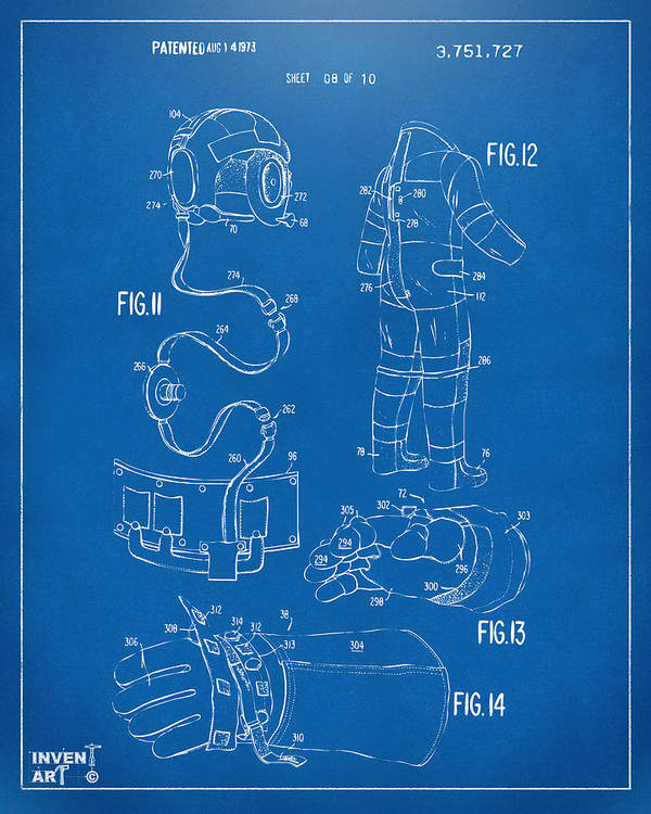 Space Suit Poster featuring the drawing 1973 Space Suit Elements Patent Artwork - Blueprint by Nikki Marie Smith