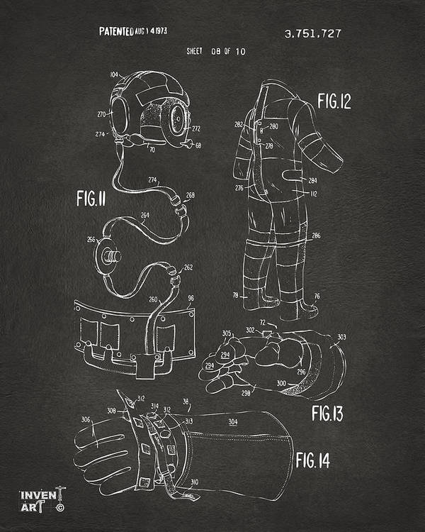 Space Suit Poster featuring the drawing 1973 Space Suit Elements Patent Artwork - Gray by Nikki Marie Smith