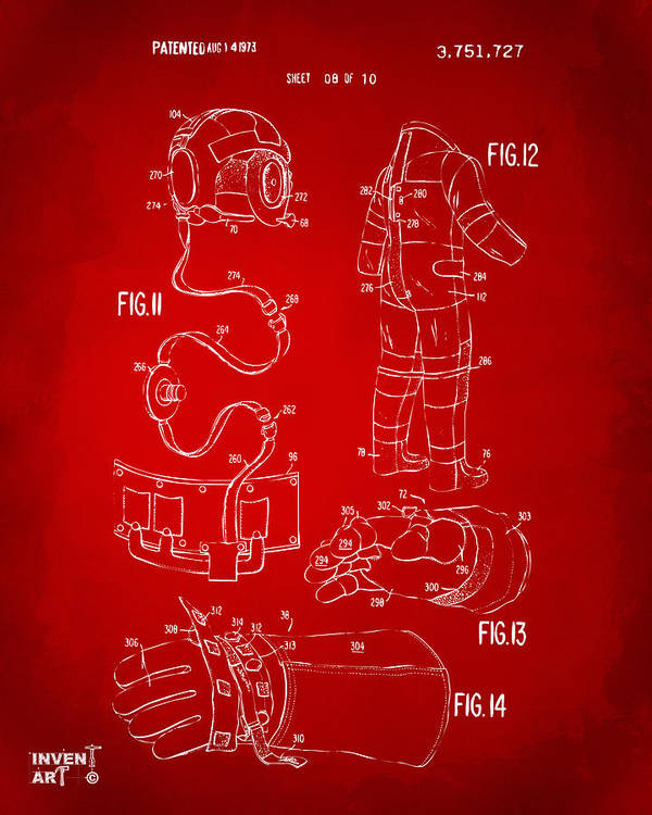 Space Suit Poster featuring the digital art 1973 Space Suit Elements Patent Artwork - Red by Nikki Marie Smith