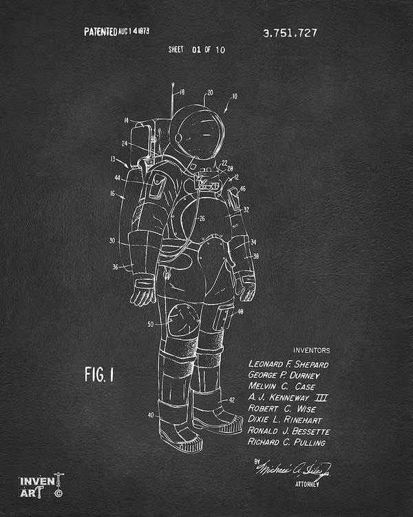 Space Suit Poster featuring the digital art 1973 Space Suit Patent Inventors Artwork - Gray 1973 by Nikki Marie Smith