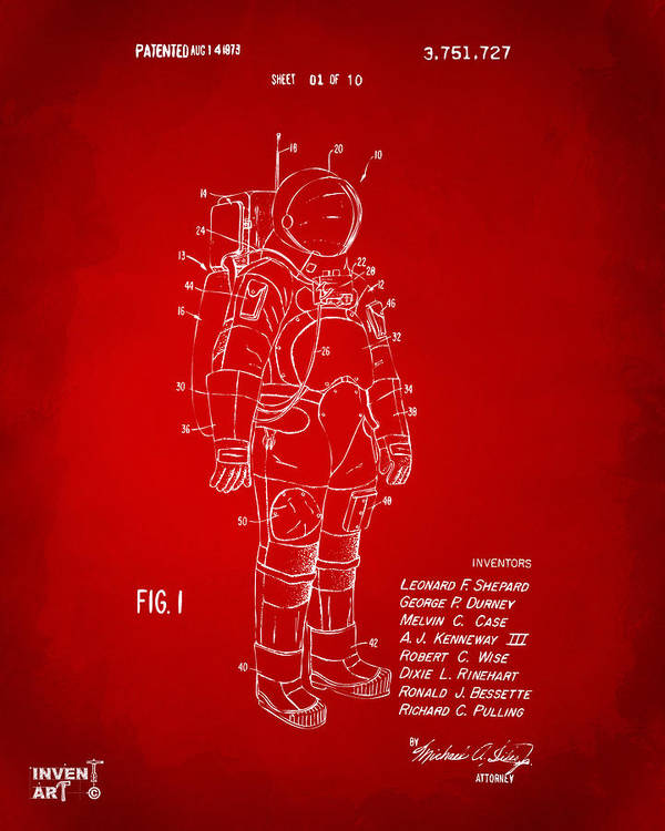 Space Suit Poster featuring the digital art 1973 Space Suit Patent Inventors Artwork - Red by Nikki Marie Smith
