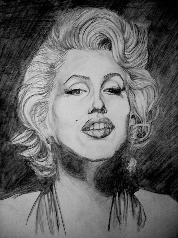 Celeb Portraits Poster featuring the drawing Marylin Monroe by Sean Leonard