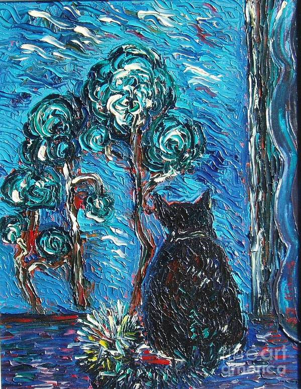 Cat Paintings Poster featuring the painting A Black Cat by Seon-Jeong Kim