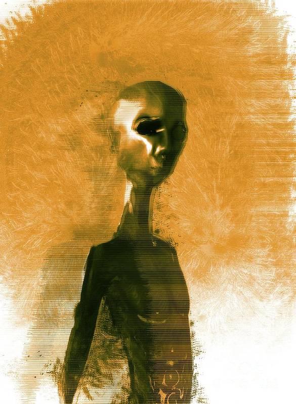 Ufo Poster featuring the digital art Alien Portrait by Raphael Terra