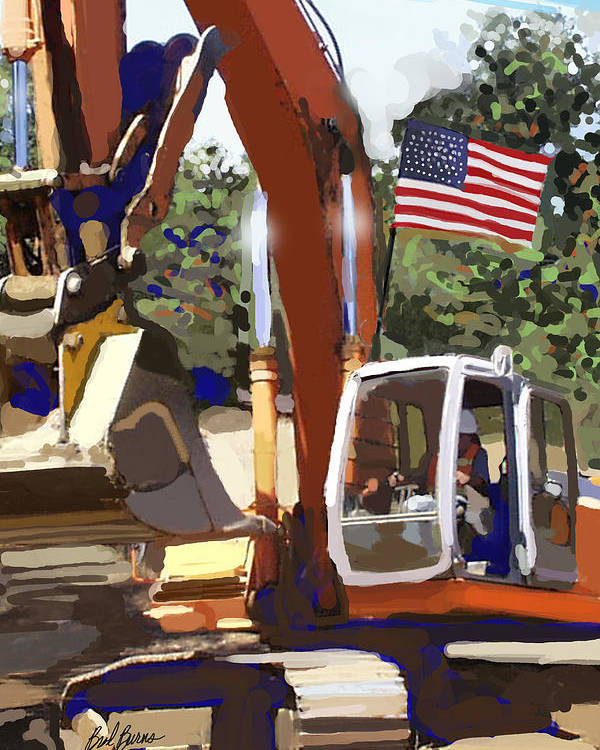 Bulldozers Poster featuring the painting American Tractor by Brad Burns