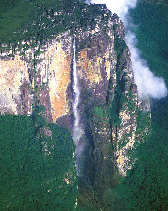 Aerial Poster featuring the photograph Angel Falls by Carl Purcell