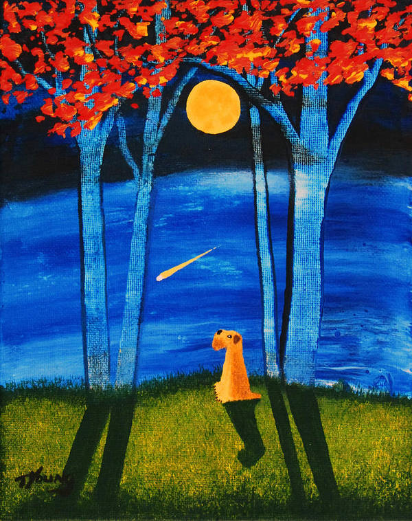 Soft Poster featuring the painting Autumn Moon by Todd Young