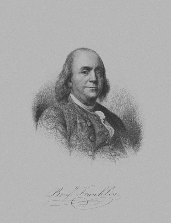 Benjamin Franklin Poster featuring the mixed media Benjamin Franklin by War Is Hell Store