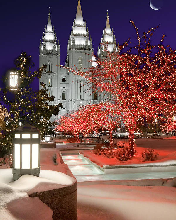 Mormon Temple Poster featuring the photograph Christmas Lights At Temple Square by Utah Images