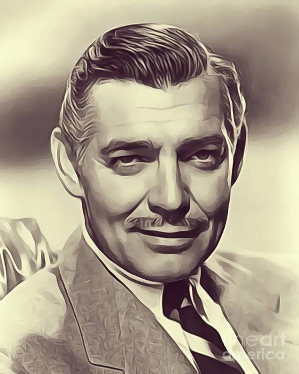 Clark Poster featuring the digital art Clark Gable, Vintage Actor by John Springfield