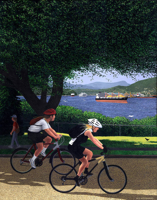 Cycling Poster featuring the painting East Van Bike Ride by Neil Woodward