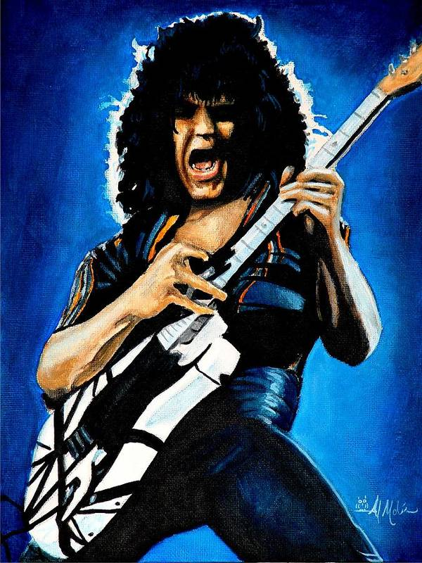 Van Halen Poster featuring the painting Eddie in Action by Al Molina