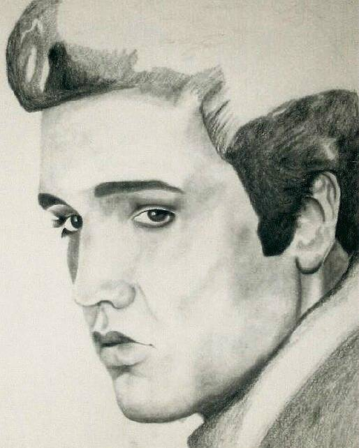 Elvis Presley Portraits Poster featuring the drawing Elvis by Mikayla Ziegler