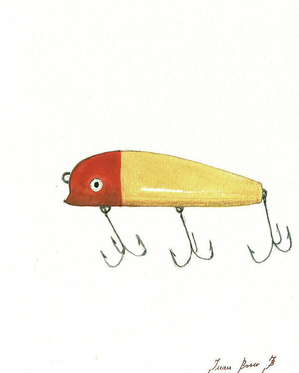 Fishing Lure Poster featuring the painting Fishing lure by Juan Bosco