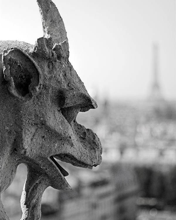 Gargoyle Poster featuring the photograph Gargoyle Guarding The Notre Dame Basilica In Paris by Pierre Leclerc Photography
