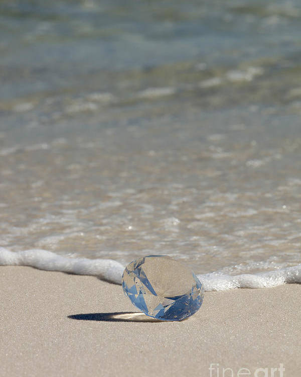 Beach Poster featuring the photograph Glass Diamond On The Beach by Anthony Totah