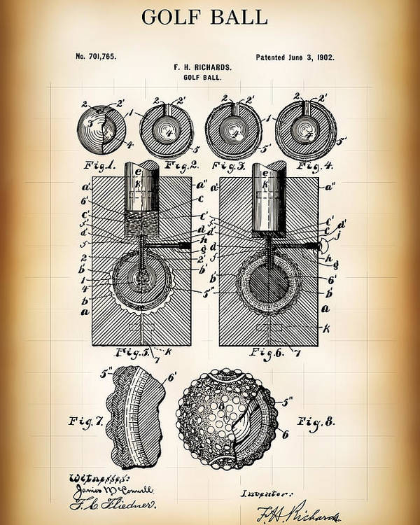 Patent Poster featuring the digital art Golf Ball Patent 1902 by Daniel Hagerman