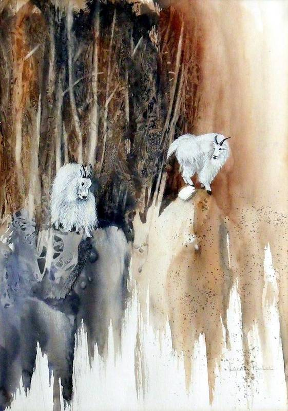 Mt. Goats Poster featuring the painting Its Not That Far by Lynne Parker