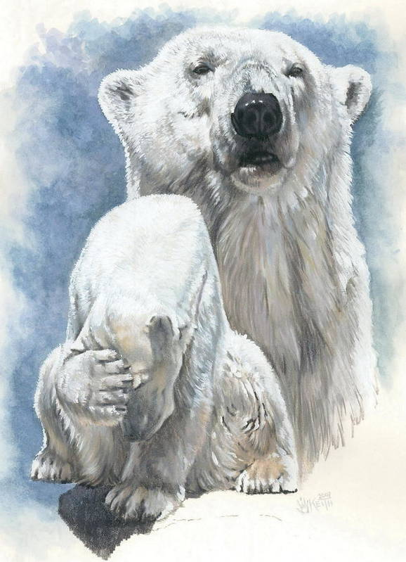 Polar Bear Poster featuring the mixed media Ivory by Barbara Keith