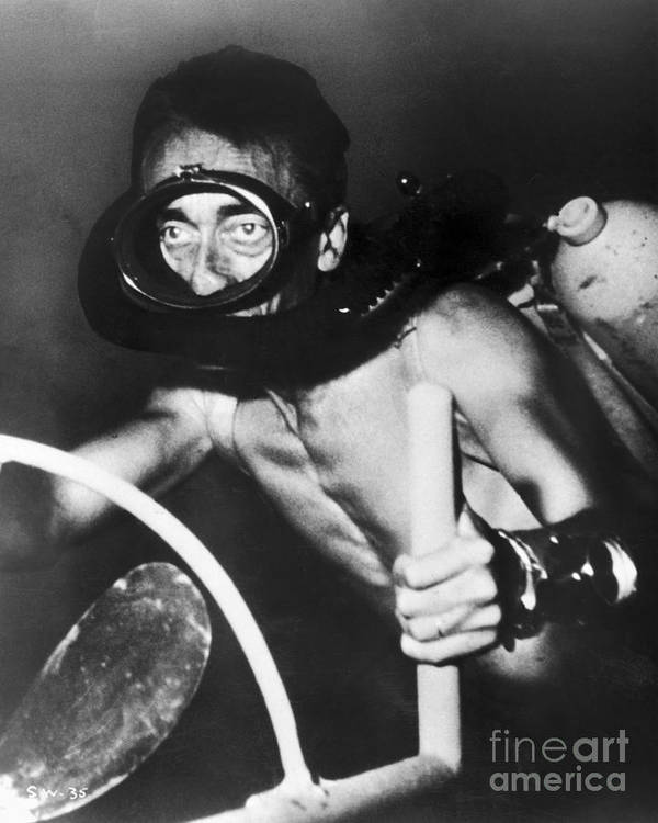 1954 Poster featuring the photograph Jacques Cousteau (1910-1997) by Granger