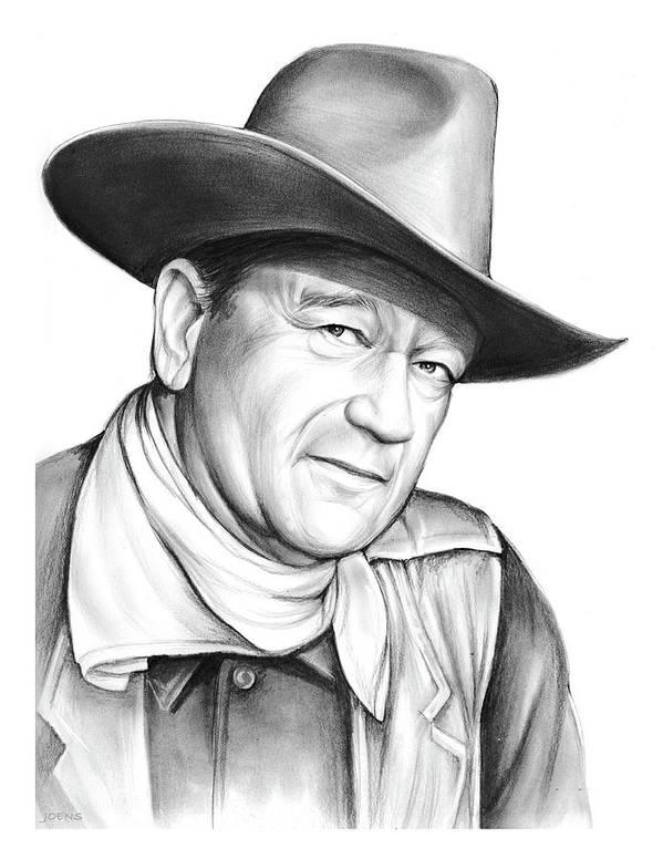 John Wayne Poster featuring the drawing John Wayne by Greg Joens