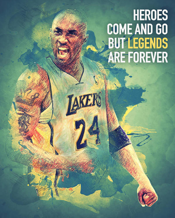 Kobe Bryant Poster featuring the digital art Kobe Bryant by Taylan Apukovska