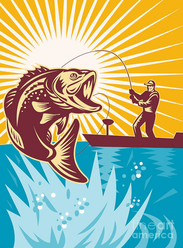 Largemouth Poster featuring the digital art Largemouth Bass Fish And Fly Fisherman by Aloysius Patrimonio