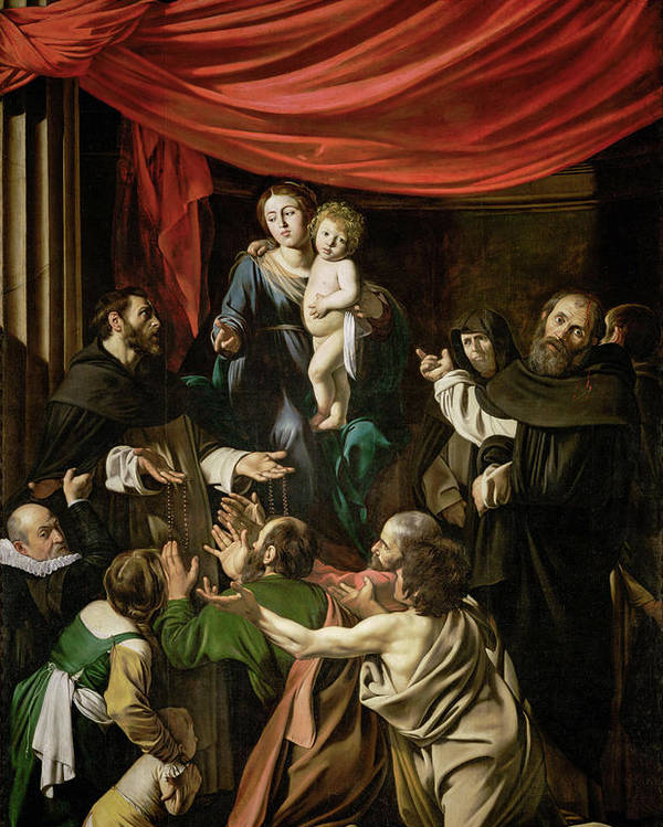 Amerighi Poster featuring the painting Madonna Of The Rosary by Caravaggio