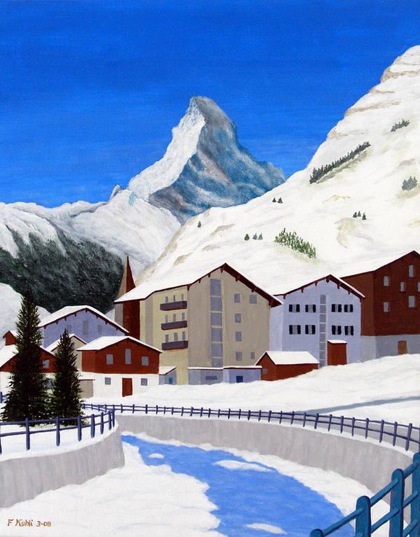 Art Poster featuring the painting Matterhorn-zermatt by Frederic Kohli