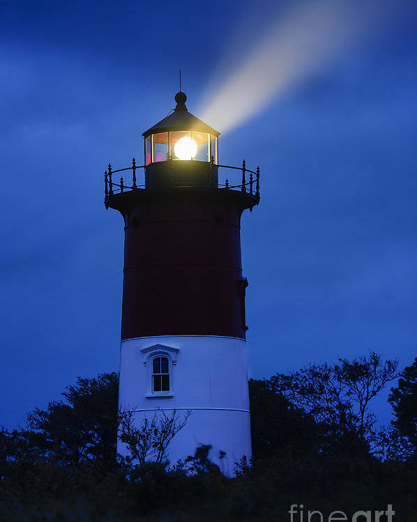 Cape Cod Poster featuring the photograph Nauset Lighthouse Night by John Greim