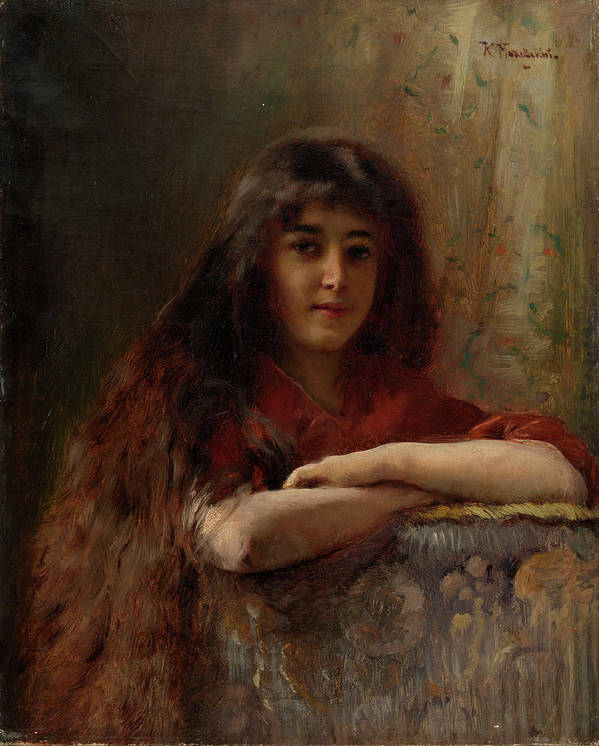 Makovsky Poster featuring the painting Portrait Of A Young Girl by MotionAge Designs