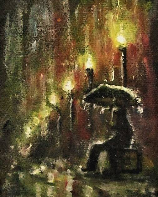 Town Streets Poster featuring the painting Rain Fantasy aceo painting by Natalja Picugina