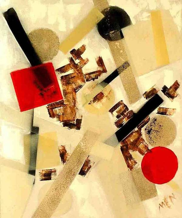 Abstract Poster featuring the painting 2 Red Objects by Evguenia Men