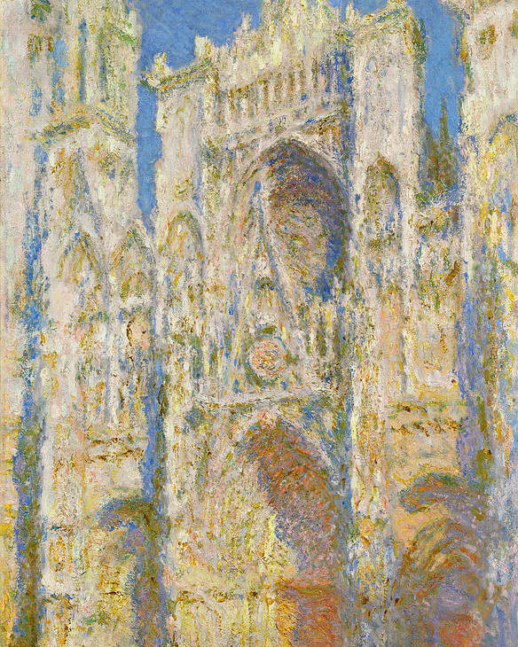 Architectural Poster featuring the painting Rouen Cathedral, West Facade, Sunlight by Claude Monet