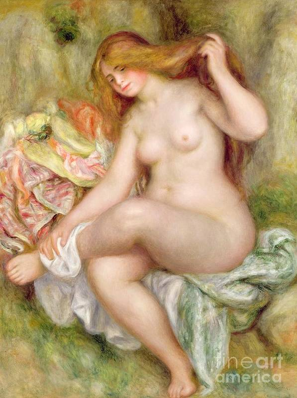 Seated Poster featuring the painting Seated Bather by Pierre Auguste Renoir