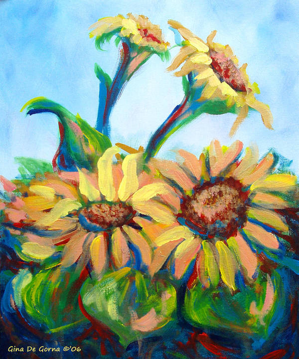 Sunflowers Poster featuring the painting Sunflowers 2 by Gina De Gorna