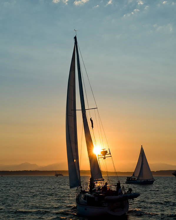 Seattle Poster featuring the photograph Sunset Sailing by Tom Dowd