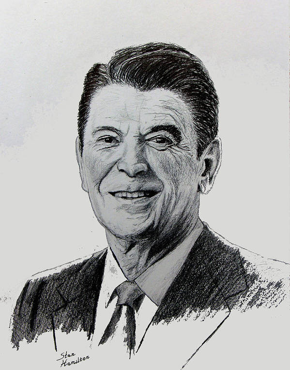 President Regan Poster featuring the drawing The Gipper by Stan Hamilton
