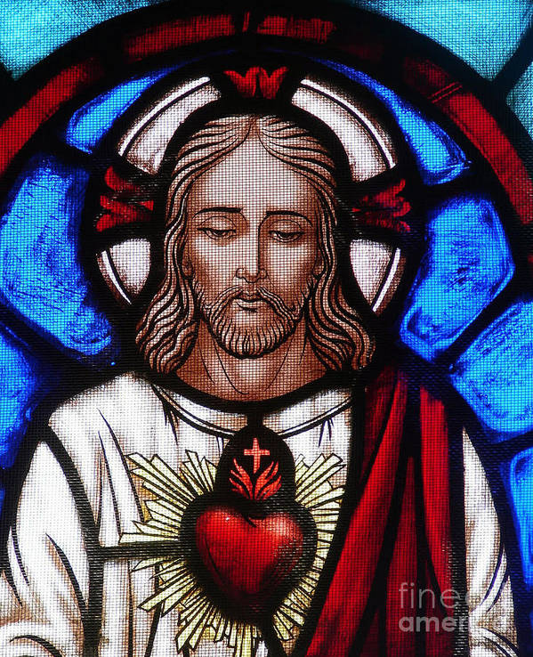 Jesus Poster featuring the photograph The Sacred Heart Of Jesus by French School