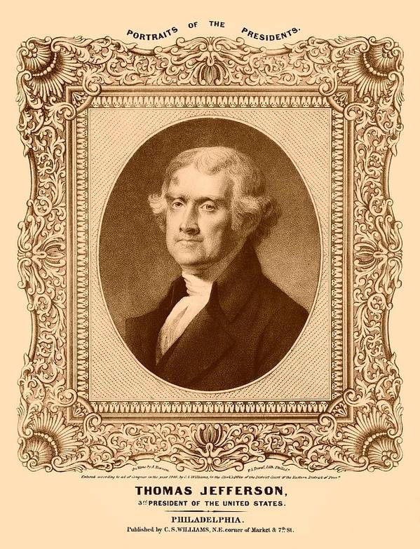 Thomas Jefferson Poster featuring the drawing Thomas Jefferson by War Is Hell Store